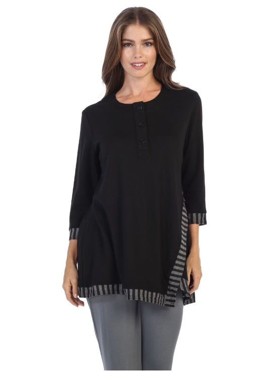 Stripe Edge Henley Tunic Top