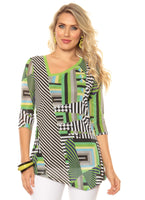 Lior Paris Lime Geometric Print Top