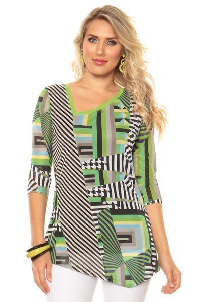 Lior Paris Lime Geometric Print Top - LilloBellaBoutique.com