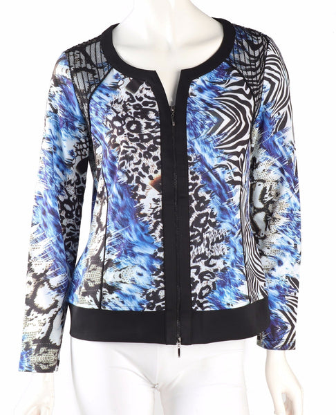 Tropicana  Zip Up Top - Blue Multi - LilloBellaBoutique.com