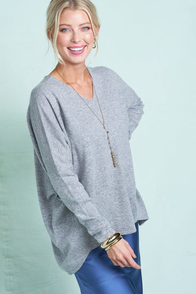 Facetime Pullover Sweater - Heather Sky - LilloBellaBoutique.com