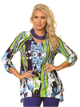 Load image into Gallery viewer, Lior Paris V-Neck Flowers N Stripes Print Tunic Top