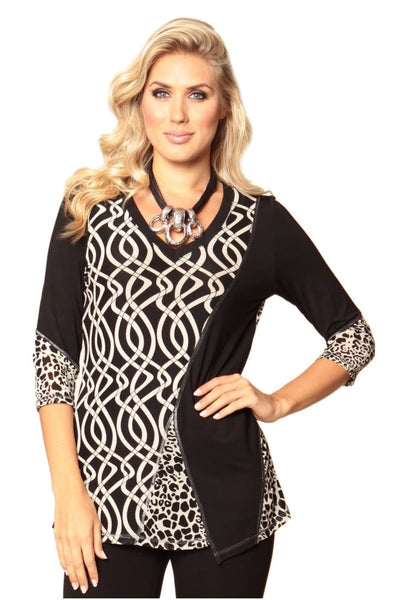 Lior Paris Spiral Print  Top - Black / cream