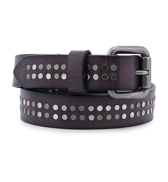 BedStu Lucy Leather Belt - Smoke Grey