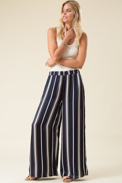 Sinead Wide Stripe Palazzo Pant - Navy