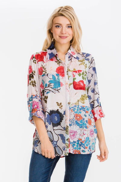 Floral Printed Patchwork Shirt with Vintage Wash - LilloBellaBoutique.com