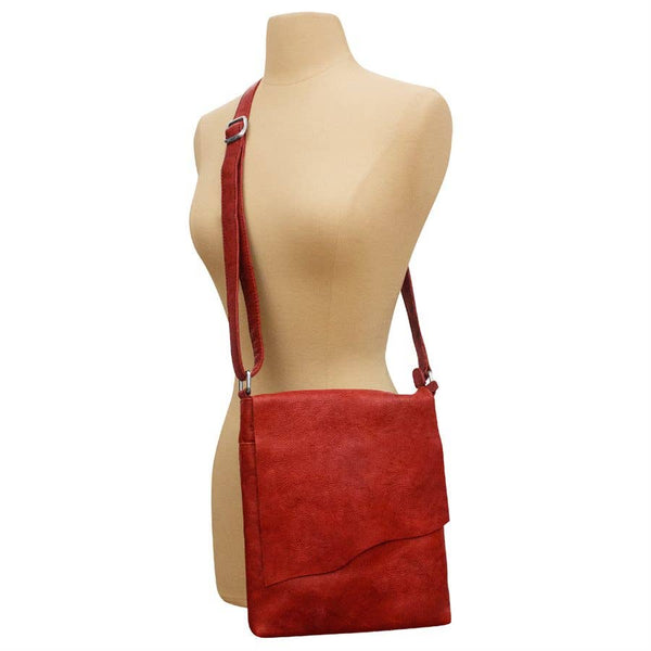 Medium Leather Crossbody with Raw Edge Flap - LilloBellaBoutique.com