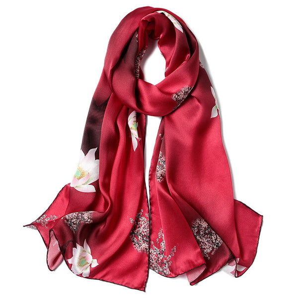 Artisan Crafted Silk Charmeuse Scarf - Crimson