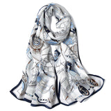 Artisan Crafted Silk Charmeuse Scarf - Yacht Club - LilloBellaBoutique.com