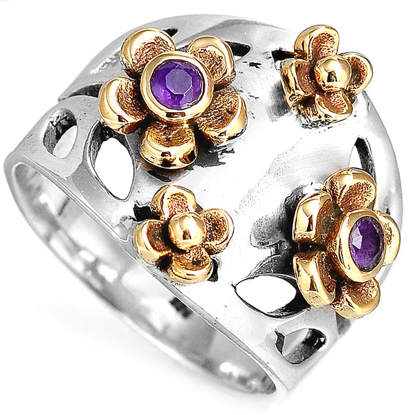 Two Tone Amethyst Flower Sterling Silver Ring - 7.5