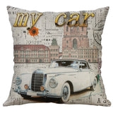 Cotton Linen Pillow Case 18 x 18 set of 2 - Vintage Cars