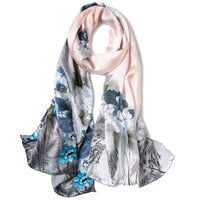 Artisan Crafted Silk Charmeuse Scarf - White Flower - LilloBellaBoutique.com