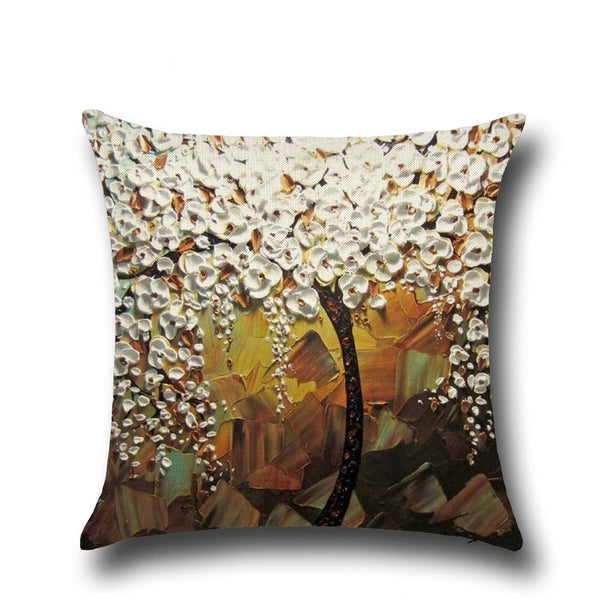 Cotton Linen Pillow Case 16 x 16 set of 2 - Bronze With White Flower