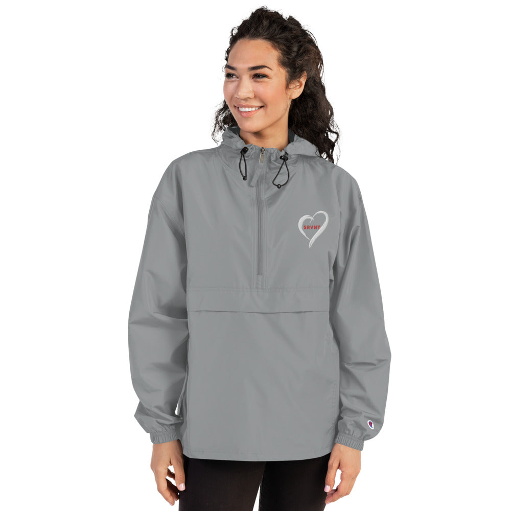 Embroidered SRVNT Heart Packable Jacket- Grey