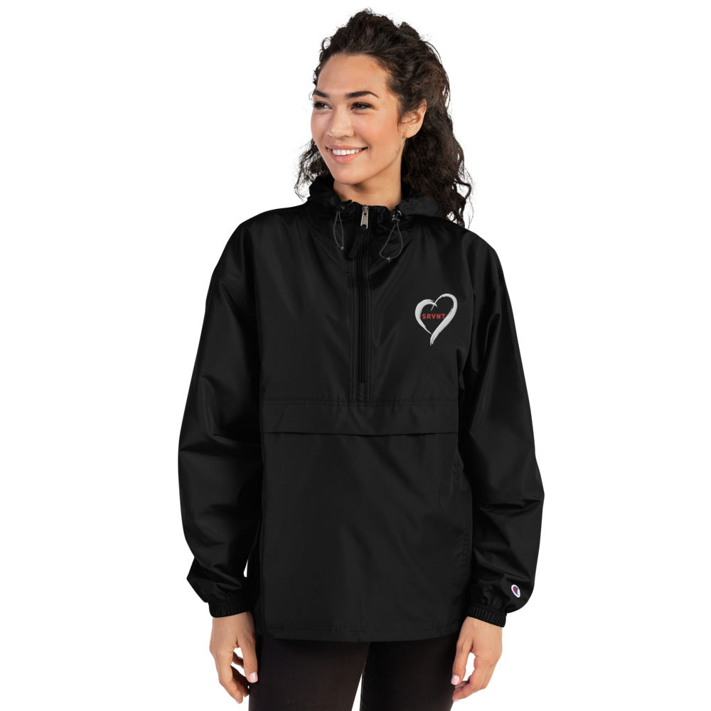Embroidered SRVNT Heart Packable Jacket-Black