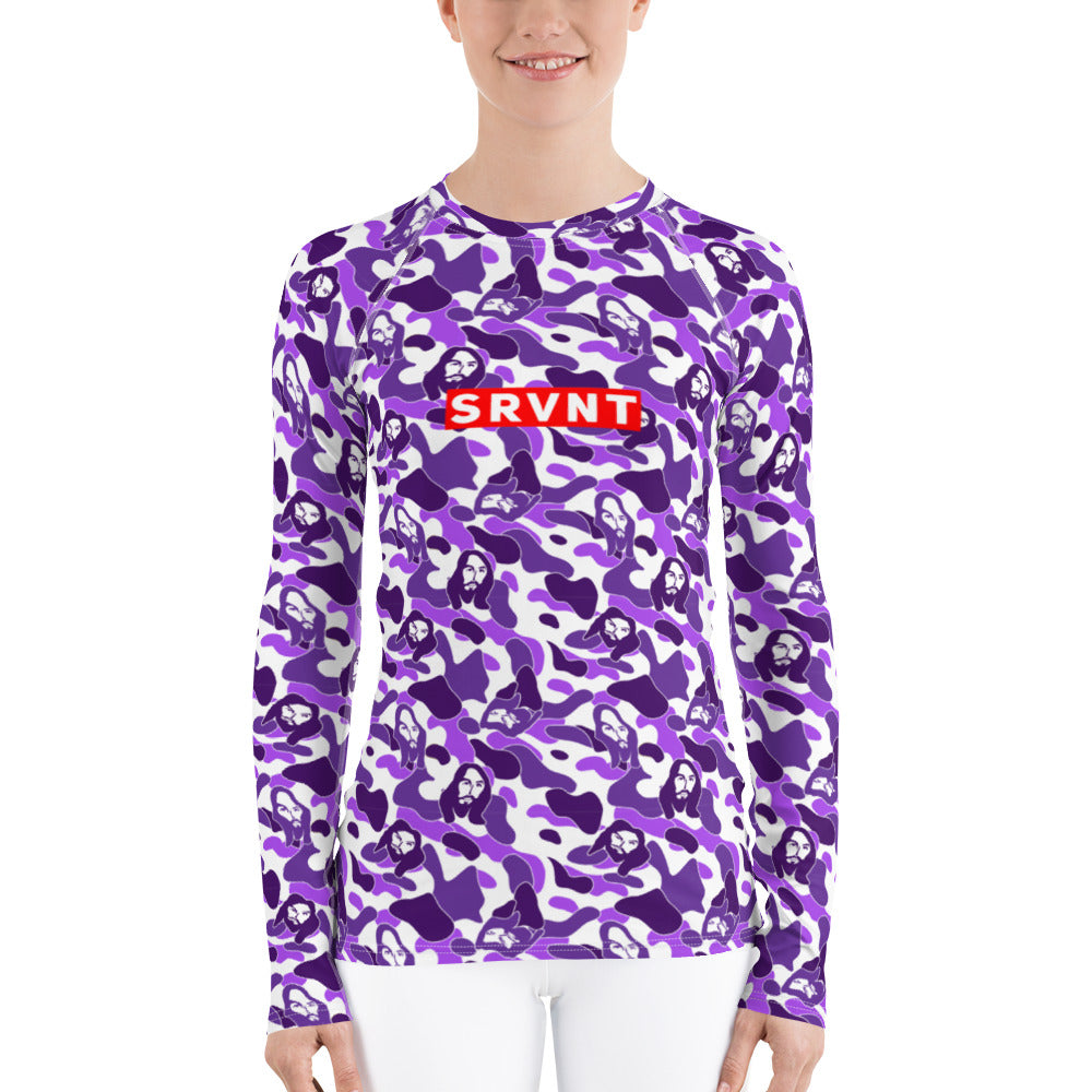SRVNT Jesus Camo Rash Guard-Purple