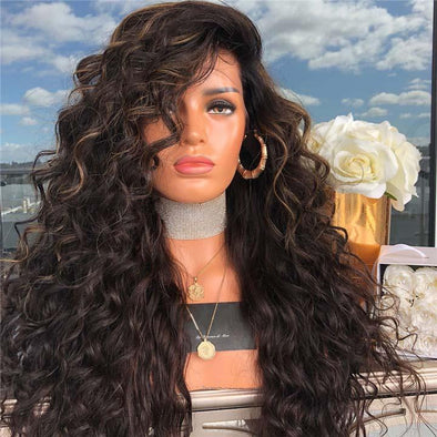 Black long curly wig
