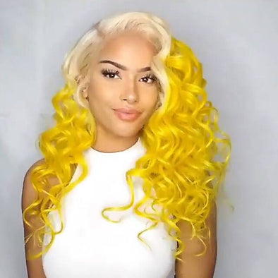 Super cute latest bright platinum yellow straight / wave wig