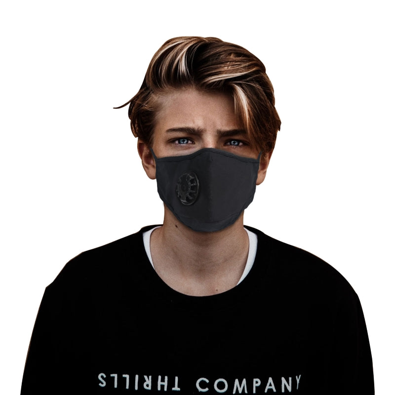 5 Black Cotton Masks with Adjustable Ear Loops with PM 2.5 filters