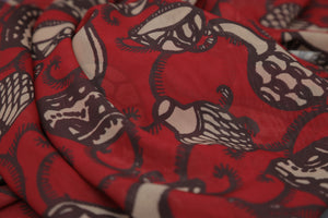LIPSTICK RED FANCY BASH PRINT