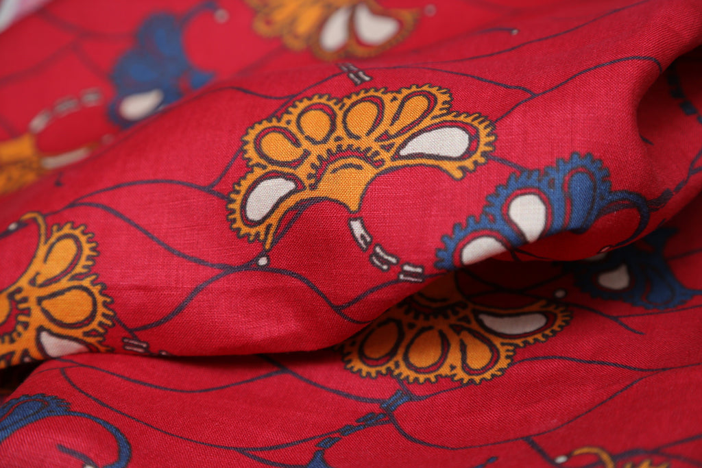 LIPSTICK RED FLORAL PAISLEY PRINT