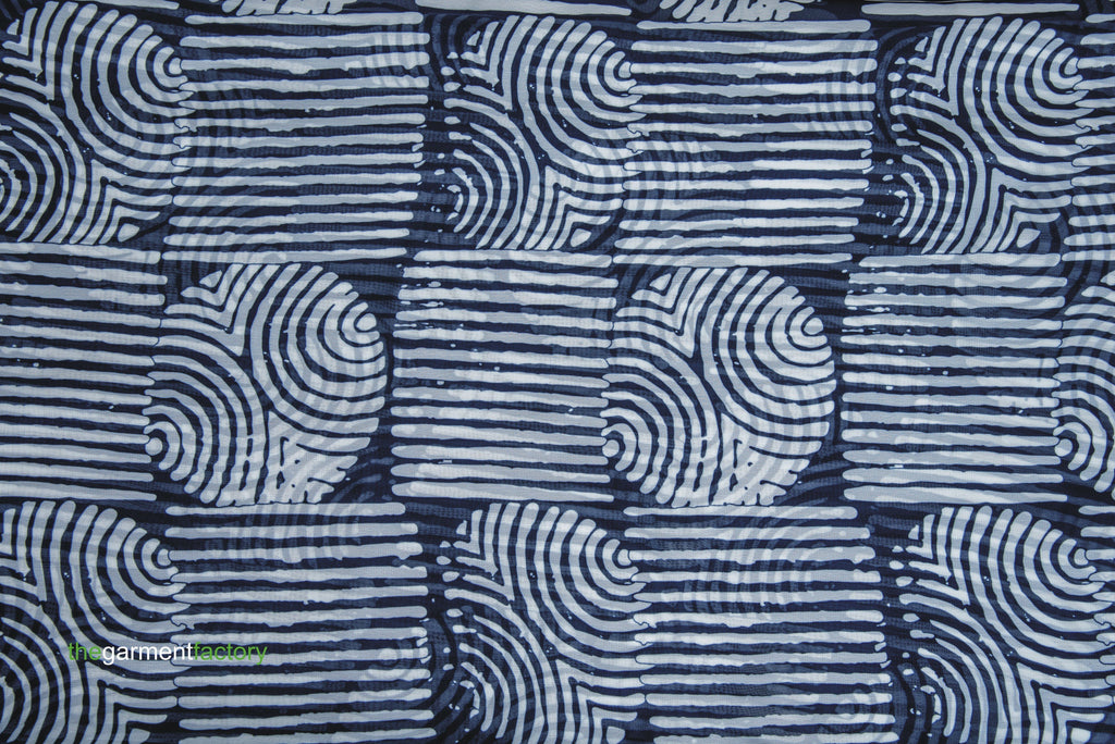 INDIGO ADIRE CIRCLE AND SQUARE PRINT
