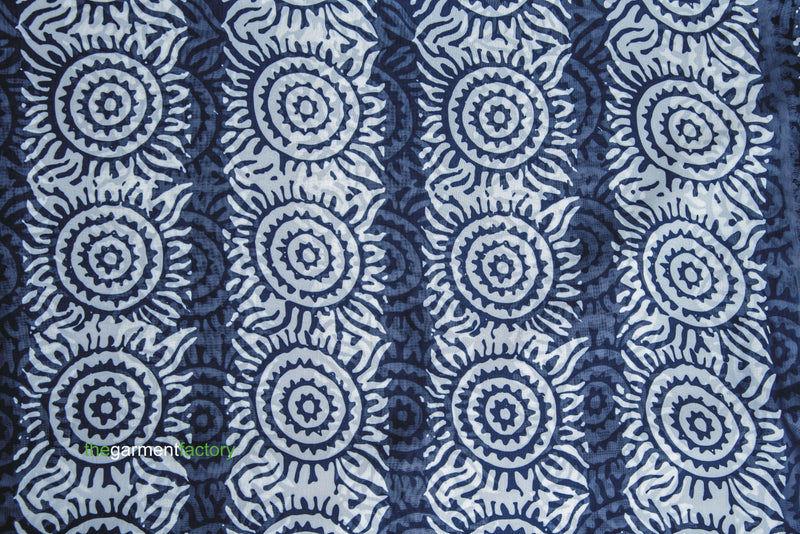 INDIGO ADIRE SUNFLOWER PRINT IN CHIFFON
