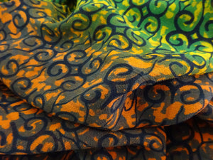 ORANGE AND GREEN 33 OMBRE PRINT IN GEORGETTE