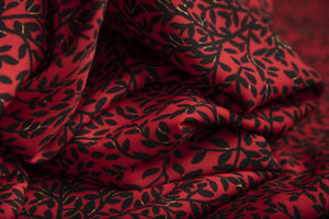RED MINI VINE PRINT IN CREPE