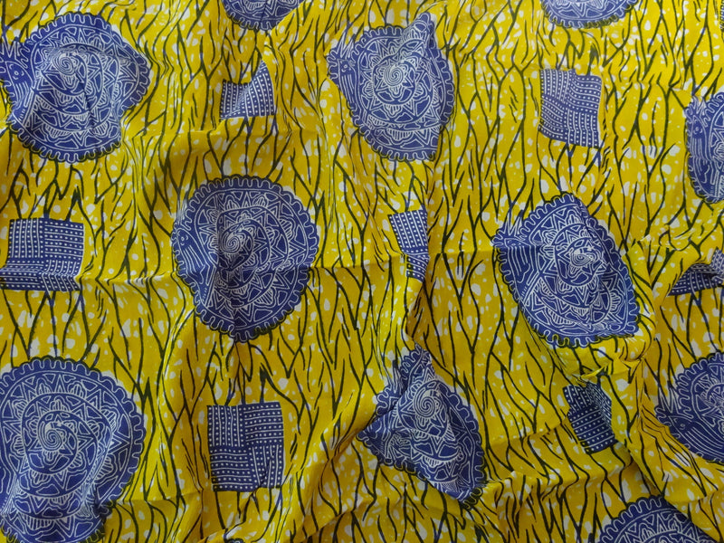 YELLOW SNAIL PRINT IN CREPE