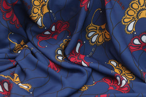 BLUE FLORAL PAISLEY PRINT IN CREPE