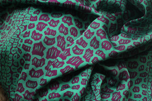 GREEN GIRAFFE PRINT IN SATIN