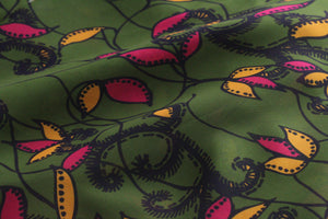 GREEN VINE LILY PRINT IN GEORGETTE
