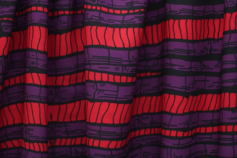 RED AND PURPLE BAMBOO PRINT IN CREPE