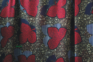 RED AUTUMN LEAF PRINT IN GEORGETTE