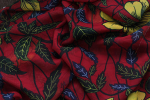 RED CLASSIC HIBISCUS PRINT IN CHIFFON