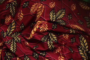 RED FALL LEAF PRINT IN JERSEY