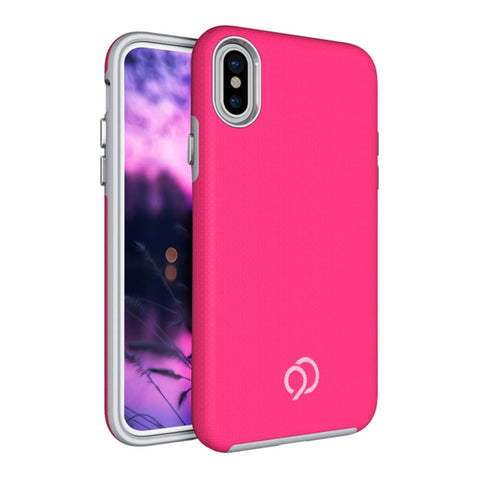 Nimbus9 Latitude Series Dual Layer Case for Apple iPhone X Textured Pink/gray