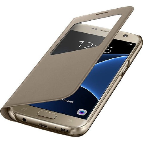 Samsung S-View Flip Cover Protective Case for Galaxy S7 Gold