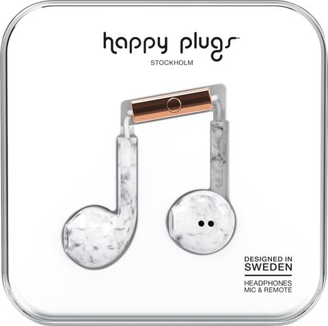 Happy Plugs Earbud Plus Headphone - White Marble