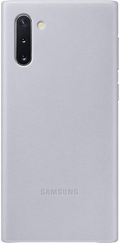 Samsung Galaxy Note10 Case, Leather Back Protective Cover - Silver