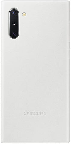 Samsung Galaxy Note10 Case, Leather Back Protective Cover - White