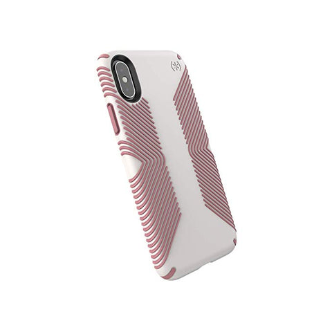 Speck Products Compatible Phone Case for Apple iPhone Xs/iPhone X, Presidio Grip Case, Veil White/Lipliner Pink