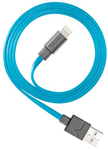 Ventev Chargesync Apple Lightning Cable | Flat, Tangle-Resistant Cable 3.3ft Blue
