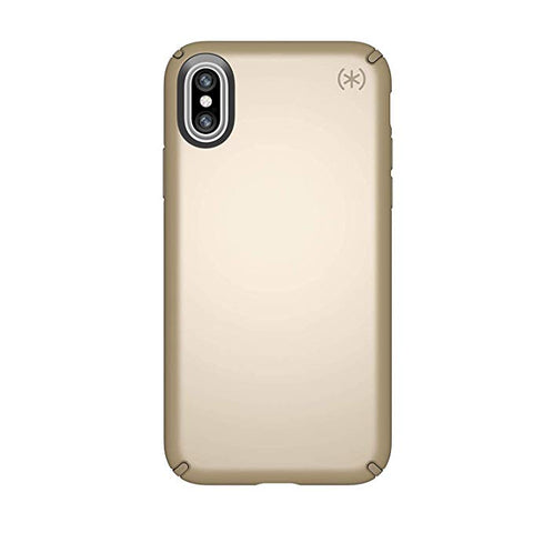 Speck Products Presidio Metallic Case for iPhone 8 Plus Pale Yellow Gold Metallic/Camel Brown