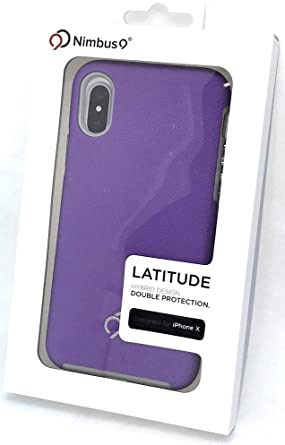 Nimbus9 Latitude Series Dual Layer Case for Apple iPhone X/XS (Not XS MAX) - Textured Purple/Gray