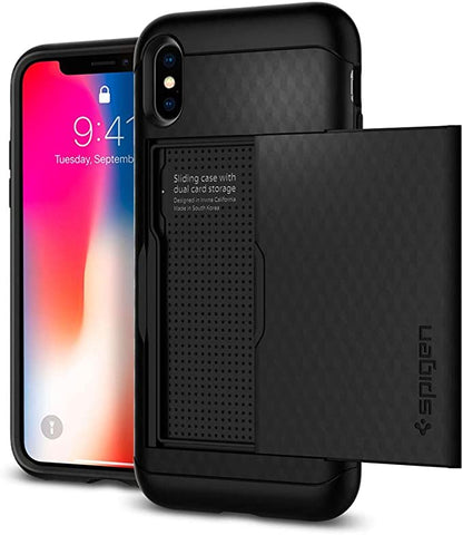 Spigen Crystal Wallet iPhone A Case with Slim Dual Layer Wallet Design and Card Slot Holder for iPhone X (2017) - Black