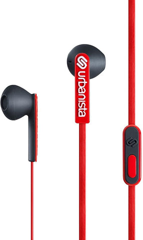 Urbanista San Francisco ErgonoMic Earphones with Remote and Mic - Retail Packaging - Red Snapper/Red