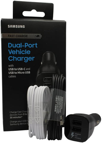 Samsung Fast Charging Dual-Port Vehicle Charger, Detachable USB to USB-C and USB to Micro USB Cables, Black