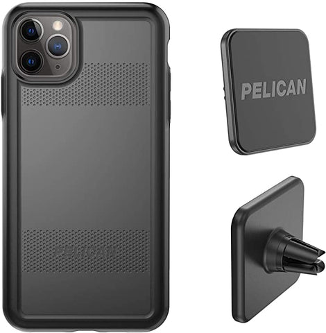 Pelican iPhone 11 Pro Max Case, Protector Series – Military Grade Drop Tested, TPU, Polycarbonate Protective Case for Apple iPhone 11 Pro Max - with EMS Car Vent Mount (Black), Model:C57150-001A-BKBK